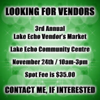 3rd Annual Lake Echo Vendor's Market   * LOOKING FOR VENDORS *