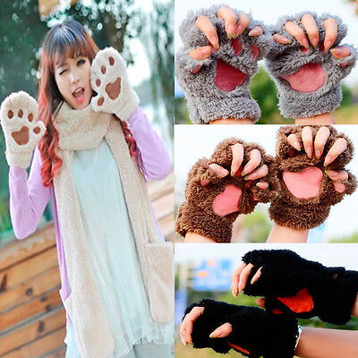 Lovely Women Cat Claw Paw Mitten Plush Glove Costume Cute Winter Half Finger - Cat Claw Gloves Costume