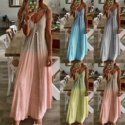 Womens Summer Beach Kaftan Dress Boho Sleeveless V Neck Maxi Tank Dress UK 8-18