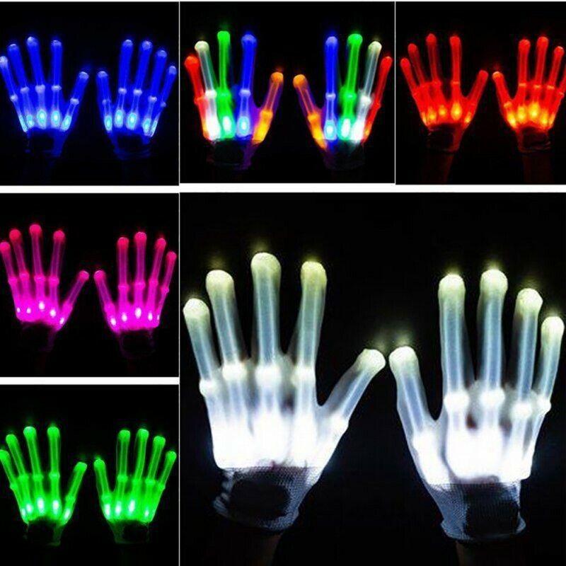 Electro LED Finger Flashing Gloves Light Up Halloween Dance Rave Party Toys US