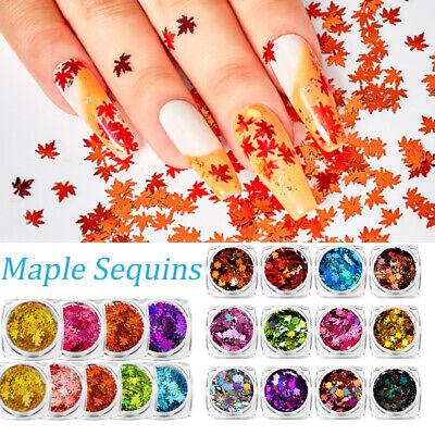 Autumn Maple Leaf Leaves Snowlake Nail Art Glitter Sequin Manicure Decor Xmas ()