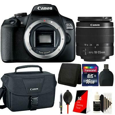 Canon EOS 2000D / Rebel T7 24.1MP DSLR Camera + 18-55mm lens + 32GB Best Bundle (Best Cheap Digital Camera)