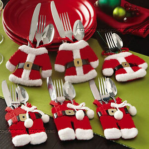 6Pcs Happy Santa Claus Tableware Silverware Suit Christmas Pockets Table Dinner