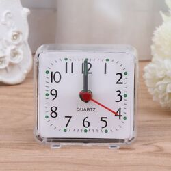 Small portable alarm clock table desk top analog quartz travel simple clear new