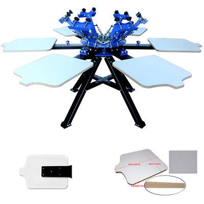 6 Color Screen Printing Machine Silk Shirt Press Printer Double Rotary Economy