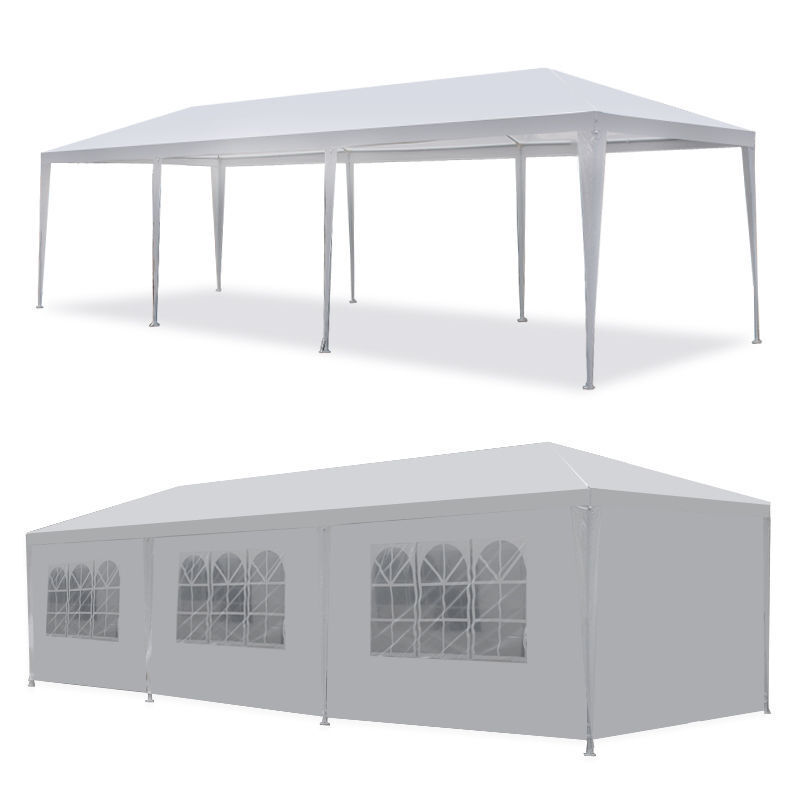 10′ x30′ BBQ Gazebo Pavilion Canopy Wedding Party Tent With Side Walls White Garden Structures & Shade