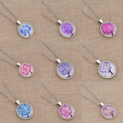 Women Tree Of Life Cabochon Necklace Pendant Adjustable Chain Jewelry Gift 1 Pc