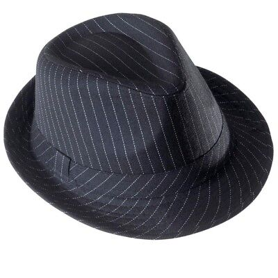 Hut Fedora Schwarz Nadelstreifen Bogart Mafia Gangster Clubwear Trilby Unisex ()