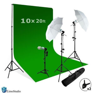 Video Photo ChromaKey Green Screen with 3 Point Light Kit...