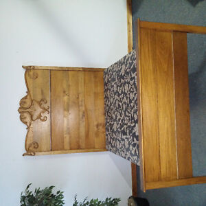 Antique wood bed with mattress