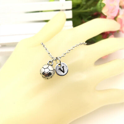 SOCCER BALL charm Initial Letter Necklace stamped monogram chain Pendant - Soccer Jewelry
