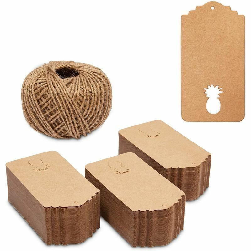 Kraft Paper Gift Tags with String, Pineapples (2 x 4 in, 300 Pack)