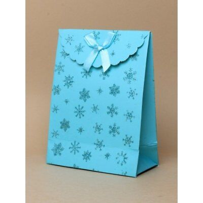 NEW 12 Turquoise glitter snowflake fastening top gift box bag favour -