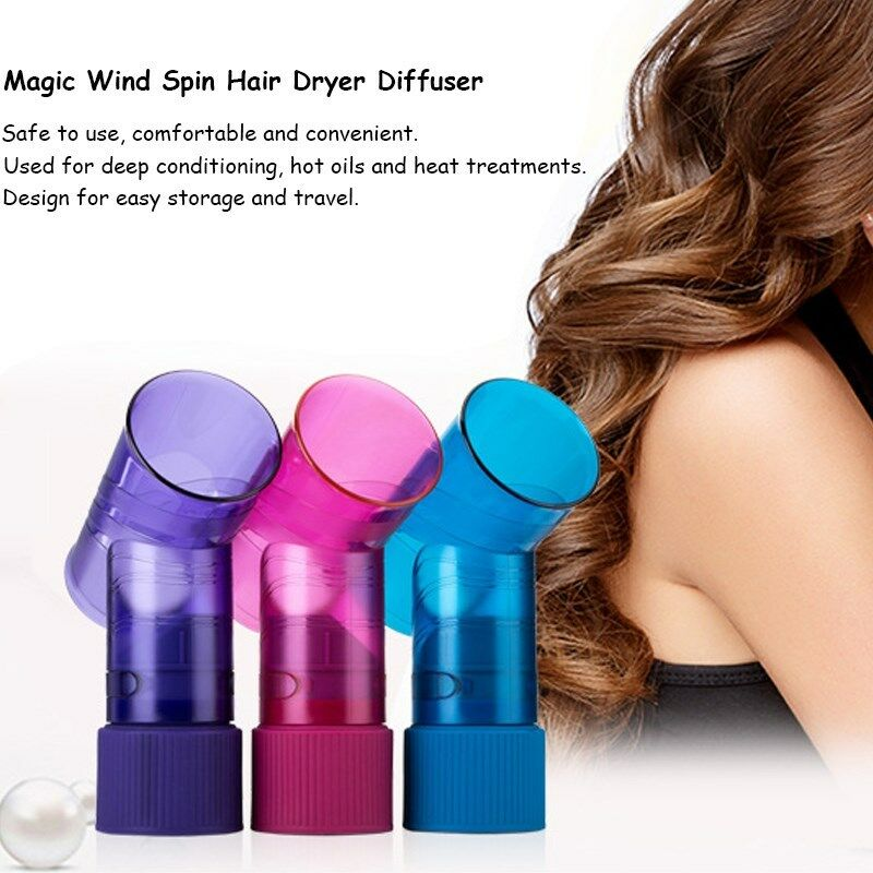 Details about Hair Dryer Perfect Curls Diffuser Wind Spin Roller Fast And Easy Use