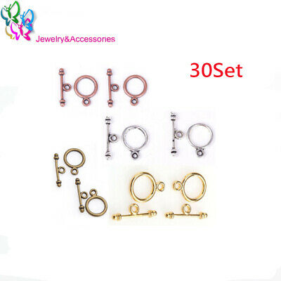 30Set 10*15MM Toggle Clasps Round Antique Bronze/silver-color/gold  DIY jewelry