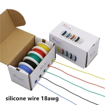 50m 18awg Flexible Silicone Wire Cable 10 Color Mix Box Package Copper Pcb