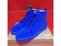 CHRISTIAN LOUBOUTIN Louis Spiked Leather High-Top Trainers - Blue - Fully boxed