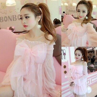 Lolita Kawaii Dress Japanese Lady Cute Bowknot Princess Boat Neck Chiffon Pink](Pink Princess Dress Adults)
