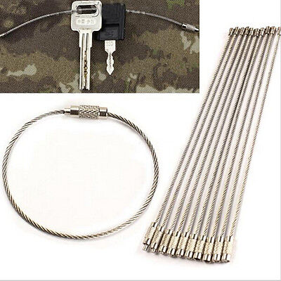 (10x Stainless Steel EDC Cable Wire Loop Luggage Tag Key Chain Ring Screw Lock-e)