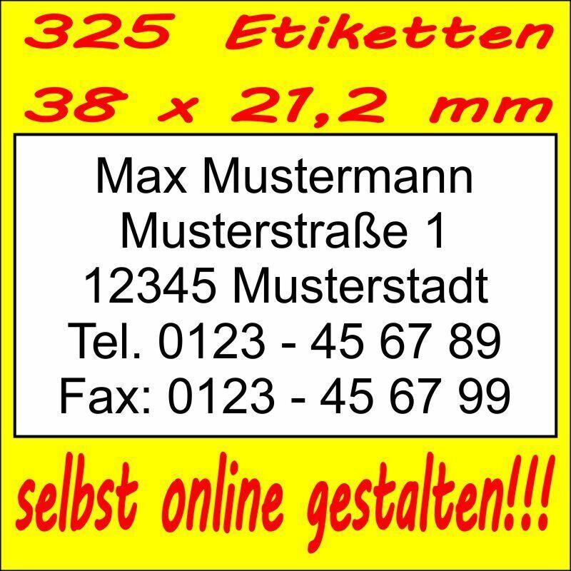 325 Absender Etiketten Adress-Aufkleber Adress-Etikett m. Druck selbst gestalten