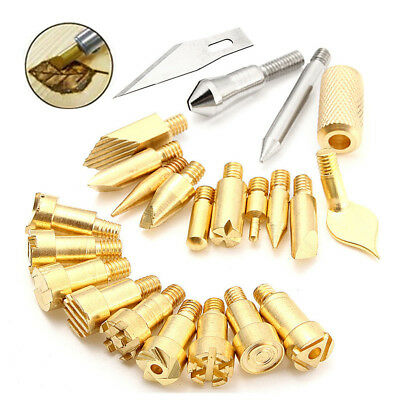 22Pcs Wood Burning Pen Tips Stencil Soldering Iron Pyrography Working Carving US