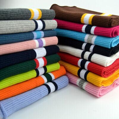 Stripe Cotton Stretch Knit Neckline Cuff Waistband Sweater Rib Trim Fabric