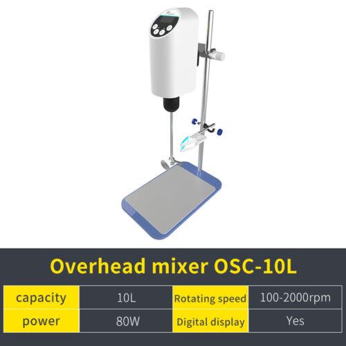 Lab Overhead Stirrer Mixer,Digital Display Speed Control,10L,2000rpm,80W