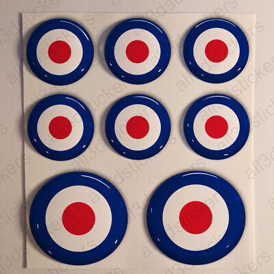 United Kingdom UK Air Force Stickers Cockade 3D Adhesive Flag Resin Domed