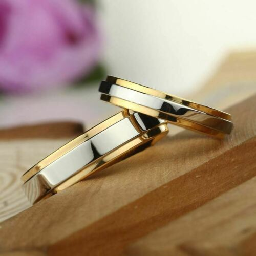 fashion 316l stainless steel couple rings gold