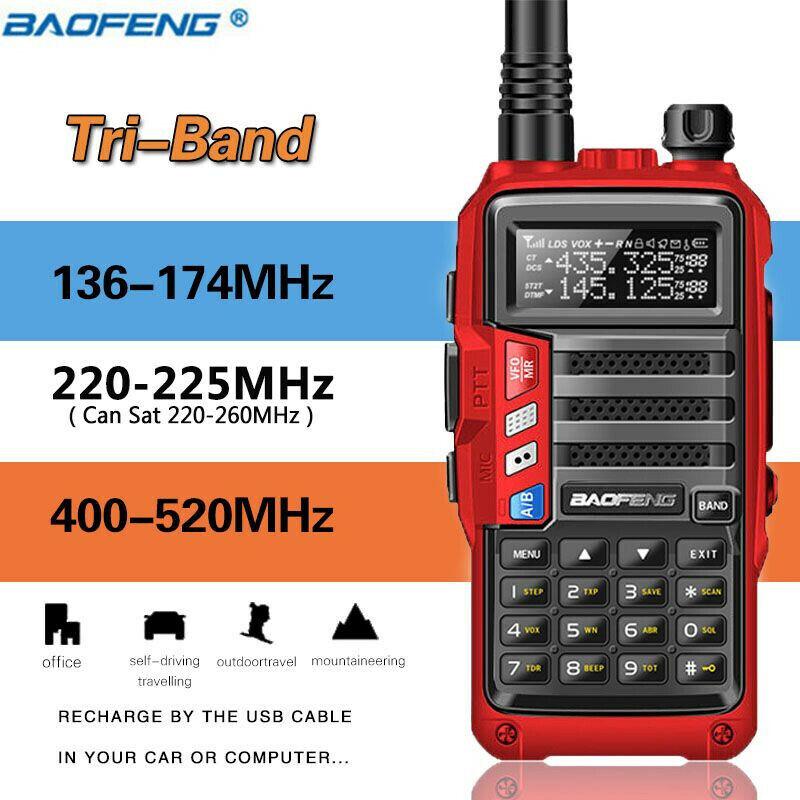 BaoFeng UV-S9 Tri-Band Radio VHF,1.25M,220 Antenna,UHF,Amateur Two Way Radio Red