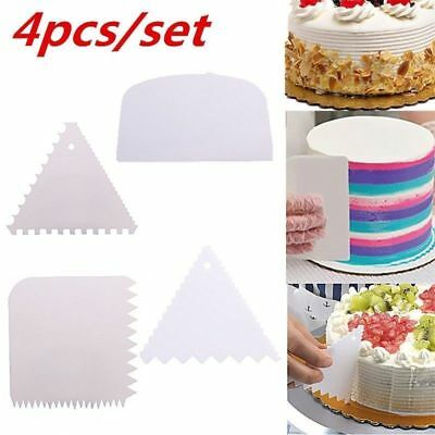 4Pcs Plastic Dough Icing Fondant Scraper Cake Decoration Baking Pastry Tools Set