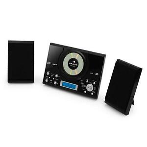 KOMPAKT STEREO ANLAGE VERTIKAL MUSIK SYSTEM CD SPIELER USB SD MP3 PLAYER SCHWARZ