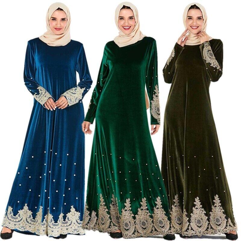 Winter Velvet Embroidery Women Long Dress Dubai Muslim Islamic Abaya Robes Lot