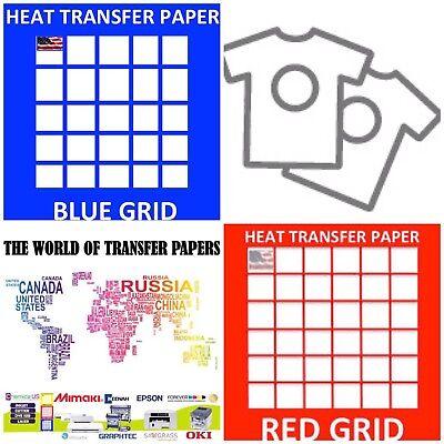 Inkjet T Shirt Heat Transfer Paper Combo 100 Sh Each Dark Red Grid 8.5x11