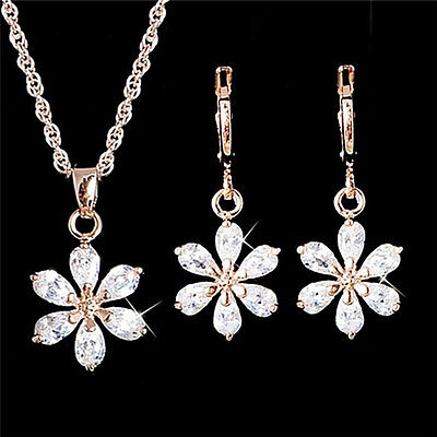 Gold Plated Jewelry Set Rhinestone Flower Pendant Necklace Earrings Jewelry GNCA ()