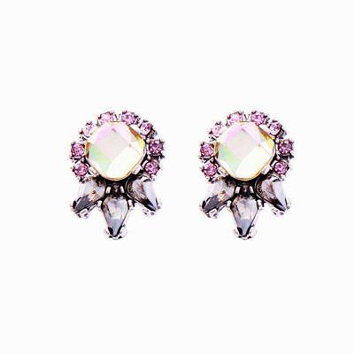 - Betsey Johnson Pink Crystal Petals Flower Pop Silver Stud Earrings