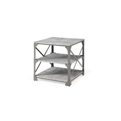 Hodedah 23.6 inch Wide 3 Tier Grey End Table ()