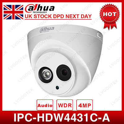 UK Dahua IPC-HDW4431C-A HD 4MP PoE Dome IR 30M Network Security IP Camera 2.8mm