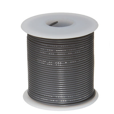 18 Awg Gauge Solid Hook Up Wire Gray 25 Ft 0.0403 Ul1007 300 Volts