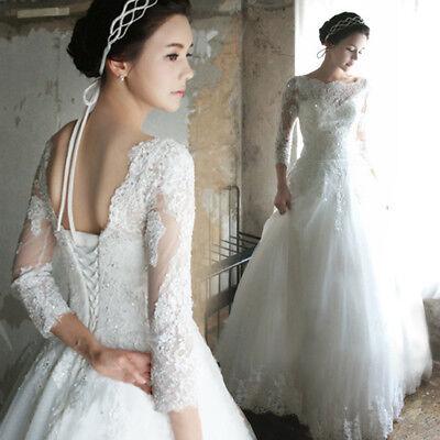 A-Linie Brautkleid Hochzeitskleid Kleid für Braut Spitze Weiß S - 2XL NEU BC565