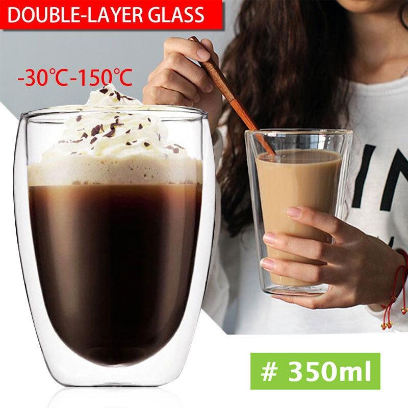 Groß Double Wall Glass Cups Cappuccino Bier Milch Tee Tasse Handwerk
