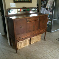 antique table, 6 chairs and sideboard