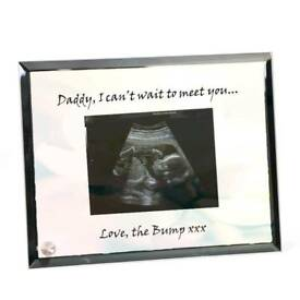 Personalised baby scan photo on glass with mirror edge