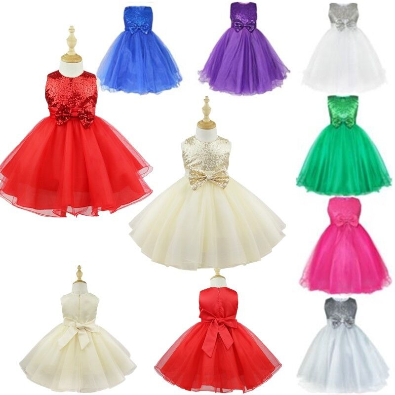 Flower Girl Princess Dress Birthday Party Wedding Pageant Prom Bowknot Lace TUTU
