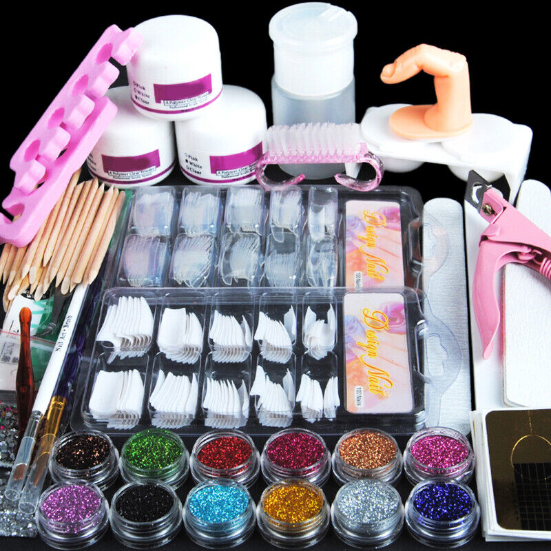Acrylic Nail Art Kit Set Tools Nail Tips Glitter Powders Pum