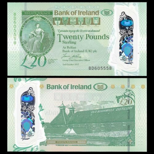 Northern Ireland 20 Pounds,  2017(2019), P-New, Polymer, Bank of Ireland, UNC