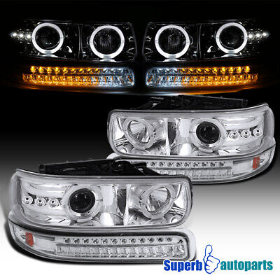 For 1999-2002 Silverado Dual Halo Projector Headlights LED Bumper Lamps Lights