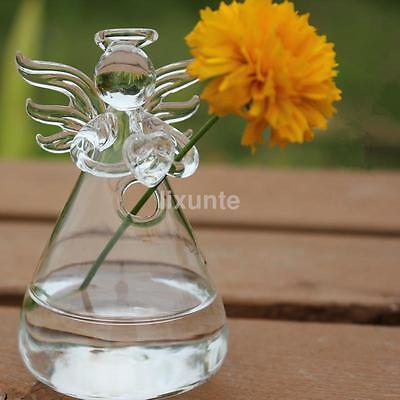 Hanging Glass Vase Plants Planter Angel Shape Vase Flower Hydroponic Bottle US