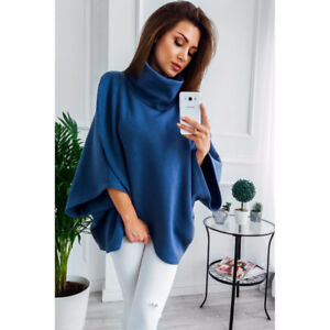 Turtle Neck Short Poncho #SW-016