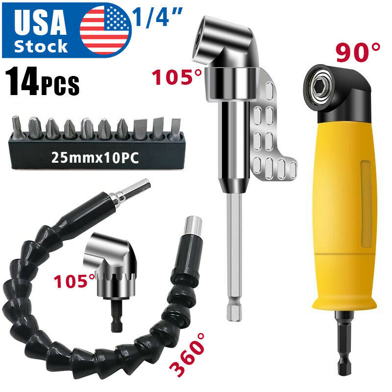 14XOffset Screwdriver Bit Holder 90 105 Degree Bit Drill Attachment Angle Driver Hand Tools